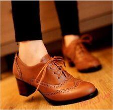 Womens Brogue Oxford Mid Cuban Block Heel Retro Preppy Shoes Pumps Lace Up Shoes