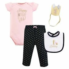 Hudson Baby Girl First Birthday Outfit Gift Set, 4-Piece, Black and Pink, 12 Mon