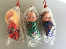 VINTAGE 60-70's# 3x DOLL DOLLS WITH SOFT RUBBER FACE  #RARE SEAL IN ORIGINAL BAG