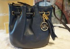 NWT Michael Kors Ring Tote Drawstring Crossbody Bag Pebbled Leather In NAVY $168