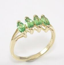 Solid 14K Yellow Gold Green Peridot Ring Size 6.75