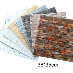 10Pcs 3D Tile Brick Wall Sticker Self-adhesive Waterproof Foam Panel Wallpaper