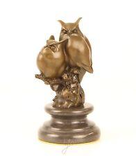 Bronze Skulptur 2 Eulen stilisiert modern Eule neu 9973331-dssp