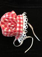 Vintage Doll Bonnet Checked Gingham Prairie Teddy Bear Vintage Clothes A42