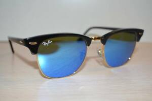 RAY BAN Sunglasses CLUBMASTER RB3016 51/21  BLACK Frame / BLUE FLASH Lens