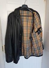 Homme Burberry en cuir Veste/manteau. taille EU54/UK44. Immaculée RRP £ 1,395.