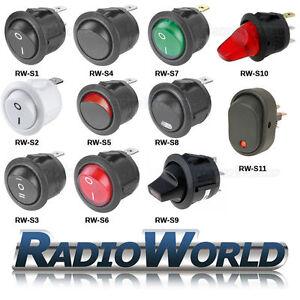 ON/OFF Round Rocker Switch 12v / 250v LED illuminated Car Dashboard Dash Boat