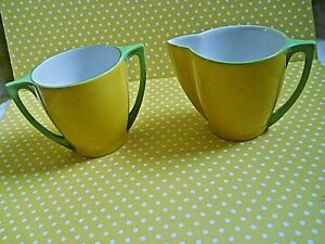 Vintage OKWAN Hand painted Yellow Creamer and  Sugar   Made in Japan