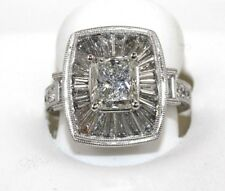 4.46Ct G/SI2 Emerald Cut Diamond Solitaire Baguette Accents Ring Platinum