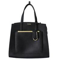 Calvin Klein Mara Saffiano Leather Satchel, Black/Gold $178