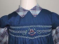 Vintage Princess Anne Hand Smocked Blue Dress Girls sz 6 School Picture BTS EUC
