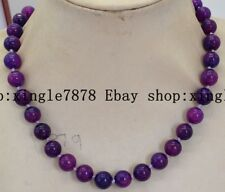 """Natural Hand Made 10mm Purple Suilite Gems Round Beads Necklace 20"""" AAA++"""