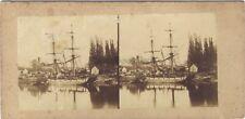 Port de Rouen France Photo Stereo Vintage Albumine ca 1860