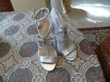 New Michael Kors Antoinette Silver Snake Embosed Leather Heels Size 8M