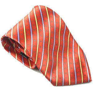Designer Luxury Hand Woven 100% Pure Silk Tie Orange with Dots & Stripe Design