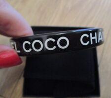 COCO CHANEL Authentic Classic Bangle BLACK WHITE with Box
