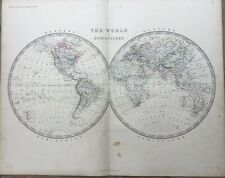 1861 Original A.K.Johnston Map - The World In Hemispheres - Large Double-Page