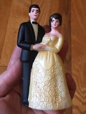 "Vintage Bride & Groom Wedding Cake Topper 6"" Made in Hong Kong Mid Late 1960s"