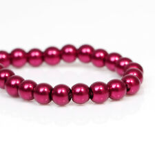 2x33inch STRANDS 6mm MAROON RED PEARL ROUND GLASS BEADS~Bracelets~Necklace (31H)