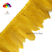 2 meters goose feather trim fringe ribbon Gold tape used for cloth accessories