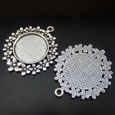Cameo Setting Tray Inner25mm Jewelry 50188 4pcs Vintage Silver Alloy Flower Lace