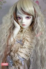 BJD Doll 1/3 9-10 Wig Long Curly Afro Hairs Straight Bangs for Girl Blonde Brown