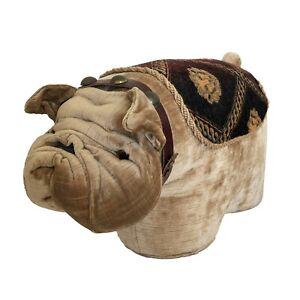 Vintage English Bulldog Dog Foot Rest Stool Velvet Brocade Glass Eye Weighted