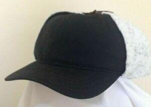 WOOLRICH SALE * MENS BLACK WINTER CAP XL * WARM WINTER EARFLAP TRAPPER LINED HAT