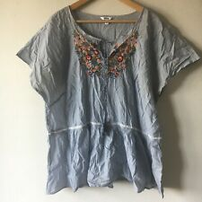 Blue Striped Embroidery floral fr Short Sleeve Light Cotton Blouses Sonoma 3X