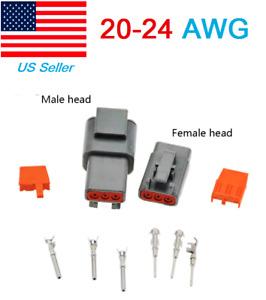 1set Deutsch DT3pin Female DTM06-3S male DTM04-3P Electrical Wire Connector flat