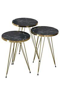 3er Set Beistelltisch Couchtisch Stapeltisch Zigon Rund Schwarz/Gold Marmoroptik
