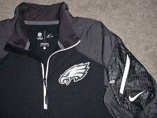 Men's NIKE NFL On-Field PHILADELPHIA EAGLES 1/4 Zip Pullover L BLACK & GRAY