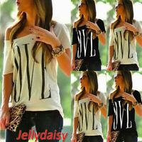 Women One Shoulder Summer Ladies Casual Short Sleeve Tee Top Letter Blouse Shirt