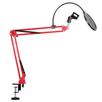 Neewer Red Desktop Microphone Suspension Boom Scissor Arm Stand with Pop Filter