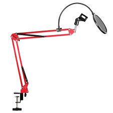 Neewer Red Desktop Microphone Suspension Boom Scissor Arm Stand with Pop Filter