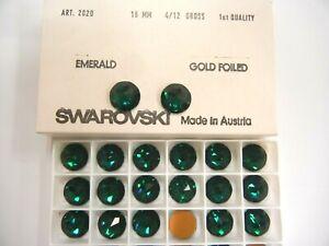 8 swarovski RARE ROSE RAUTON round flatbacks,16mm emerald/goldfoiled #2020
