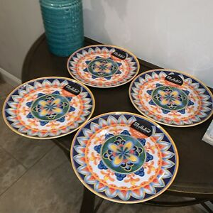 IL MULINO Spanish Floral Tile DINNER Plates Round MELAMINE Blue Orange Set of 4