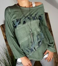 NEU LINDSAY ITALY VINTAGE BLUSE SHIRT TWO FACE LINKSNÄHTE WASHED GREEN 36-40
