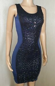 VICKY MARTIN blue sequin illusion fitted bodycon mini cocktail dress BNWT 8 10