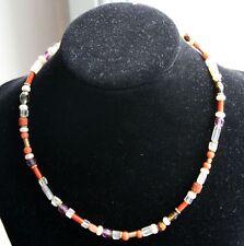 Unikat Süßwasserperlen antike Koralle Kette Halskette  Handarbeit 41 cm