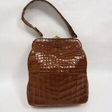 Exquisito estilo vintage marrón suave Crocodile Skin Bolso Retro