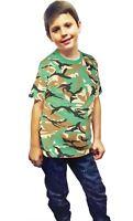 Children Camouflage Army Print T Shirt Boys Short Sleeve Green Brown Shirt