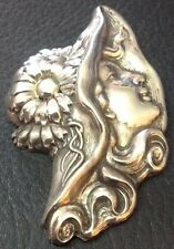 """Lovely Very Large 2 1/2"""" Vintage 925 Sterling Silver Lady Hat W/ Flowers Button"""