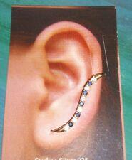 Ross Simons 14k yellow gold blue sapphire climber crawler wave tennis earrings