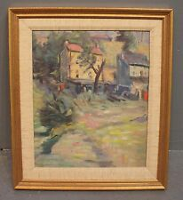 "Unsigned Landscape Oil Painting of Two Houses Framed  11"" x ""9"