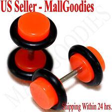 2068 Neon Orange Fake Cheater Illusion Faux Ear Plugs 16G Bar 2G = 6mm Look 2pcs