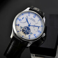 Parnis 43mm White Dial Blue mark Sea-gull Power Reserve Automatic Men's Watch