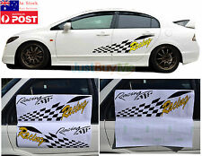 Black Yellow Racing Vinyl Graphics Car Door Side Protector Sticker Sport 70cm