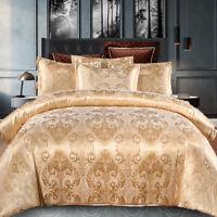 4 PCS Luxury Satin Jacquard Duvet Cover King Size Bedding Sets Gold Duvet Set AU