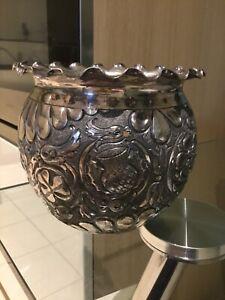 Antique British Repousse silver bowl 1880's